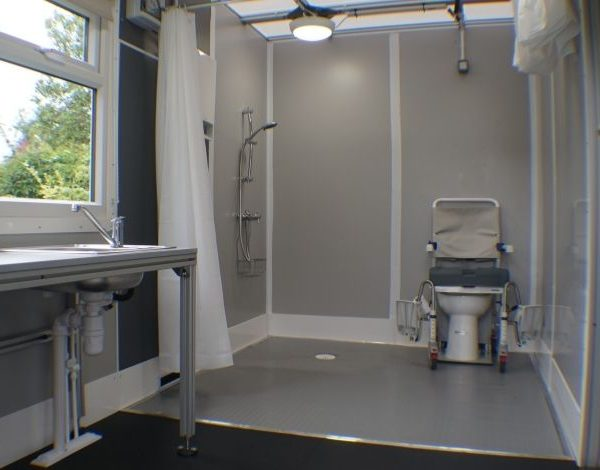 Wheelchair accessible wet room temporary modular solution by the Temporary Solutions Group